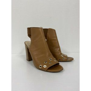M Gemi Open Toe Bootie Leather Studded Boots